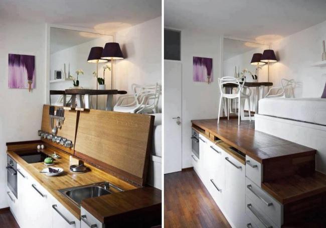 Muebles de cocina pequea mdulos para cocinas algunas for Comedor y cocina pequea os