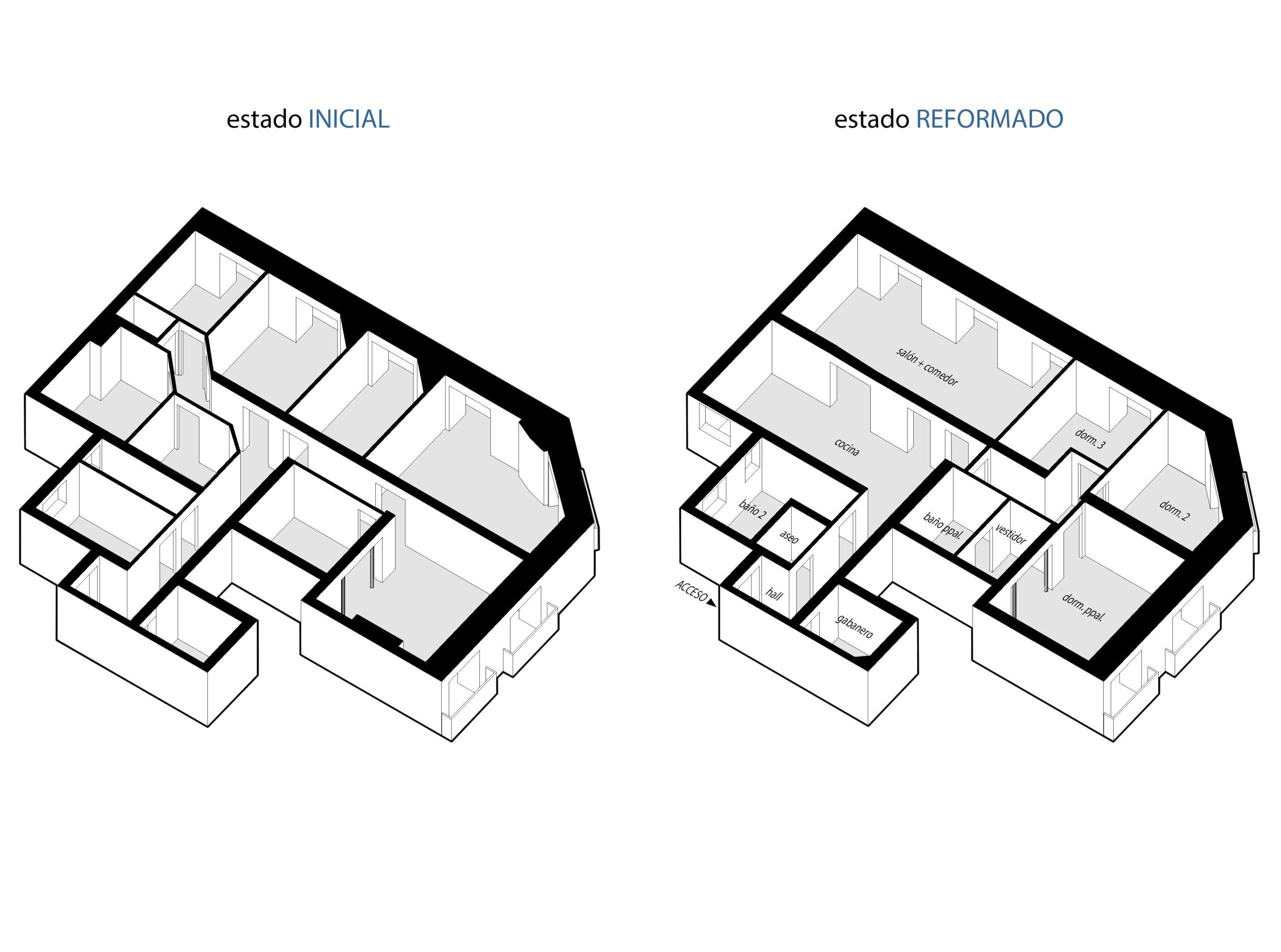 reforma-integral-vivienda-3_CASA JJ54 Axonometricas