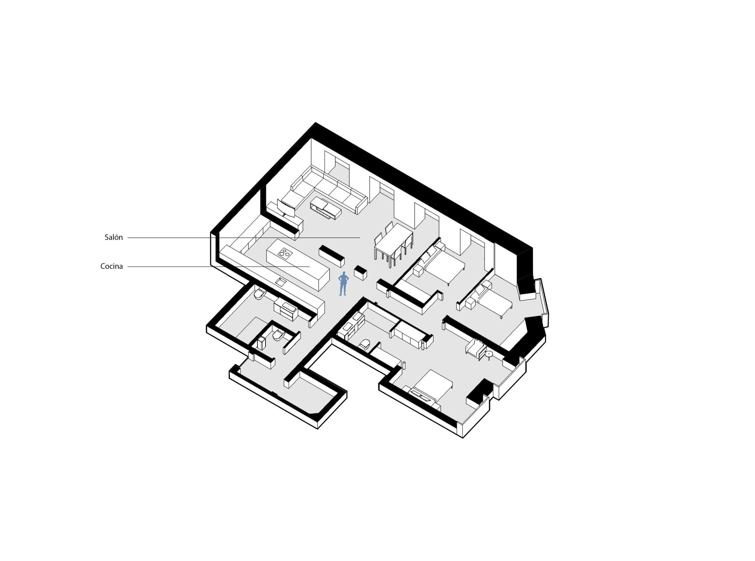reforma-integral-vivienda-8_CASA JJ54 Salon y cocina